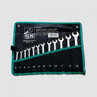 GK TOOLS Sada klíčů očkopl. 6-22 mm 12 dílů chrom-obal GK10343