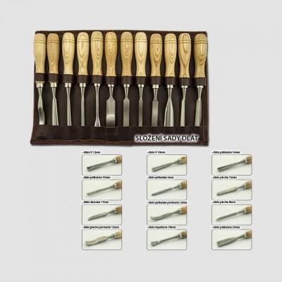 XTline Dláta řezbářská 12ks, kožený obal XT790400