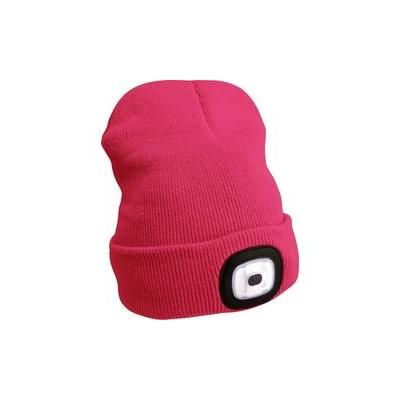 Čepice s čelovkou 45lm, nabíjecí, USB, růžová, univerzální velikost